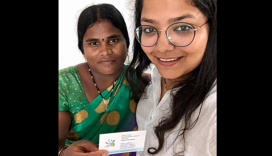 The latest thing to catch netizen's fancy is a housemaid, Geeta Kale, who was seeking work with the help of a business card