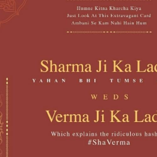 Honest Wedding Card: Twitter user's #ShaVerma has gone viral and left people in splits