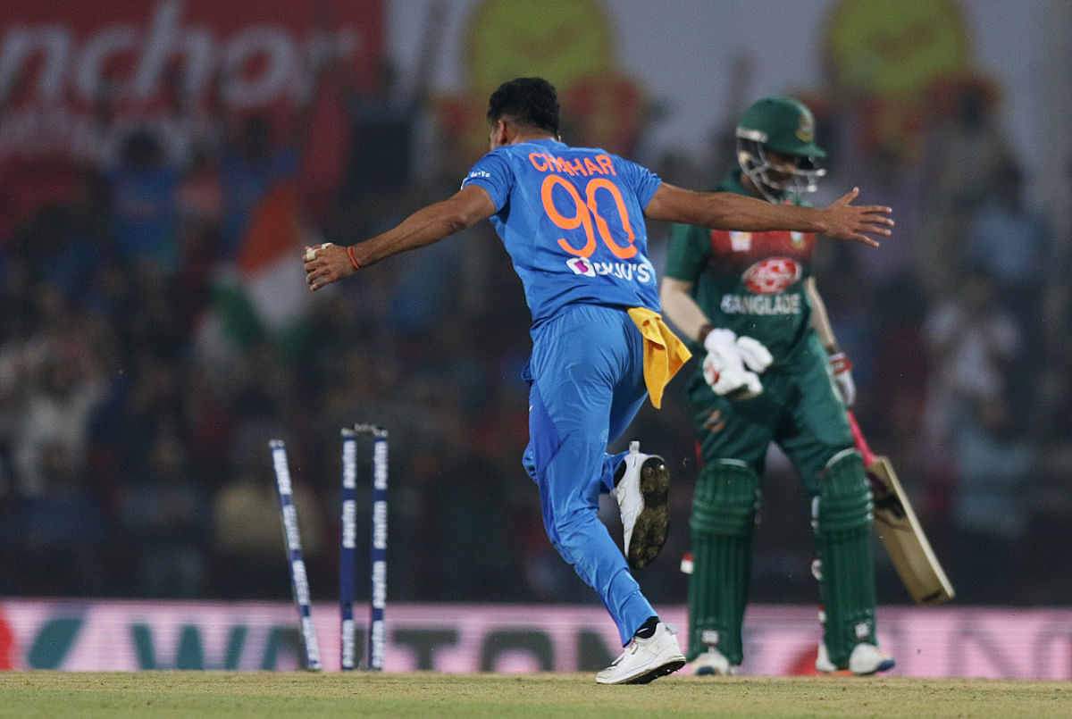 India's Deepak Chahar (6 w) celebrates his hat trick during the third and final T20 cricket match between India and Bangladesh at Vidarbha Cricket Association Stadium in Nagpur on Sunday.