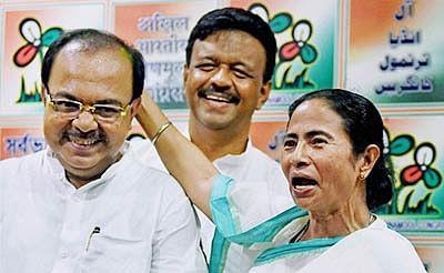 Former Mayor of Kolkata Sovan Chatterjee (left) with Mamata Banerjee.