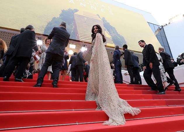 """Indian Bollywood actress Aishwarya Rai arrives on May 13, 2016 for the screening of the film """"Ma Loute (Slack Bay)"""" at the 69th Cannes Film Festival in Cannes, southern France."""