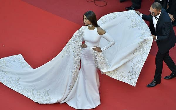 """Sonam Kapoor poses for the screening of the film """"Mal de Pierres (From the Land of the Moon)"""" at the 69th Cannes Film Festival in Cannes, southern France."""