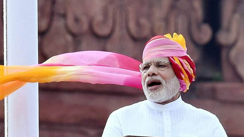 New Delhi: Prime Minister Narendra Modi addressing the nation during the 70th Independence Day function at the historic Red Fort in New Delhi on Monday. PTI Photo by Shahbaz Khan(PTI8_15_2016_000279B)