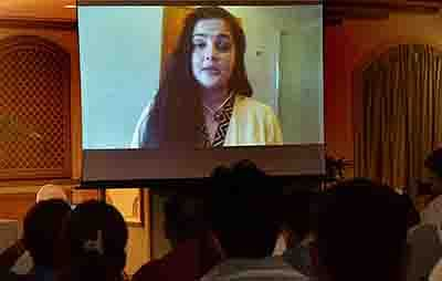 Mumbai: Bollywood actress Mamta Kulkarni speaking to the media via video link in connection with the drug haul case, in Mumbai on Friday. PTI Photo by Santosh Hirlekar (PTI9_9_2016_000188B)