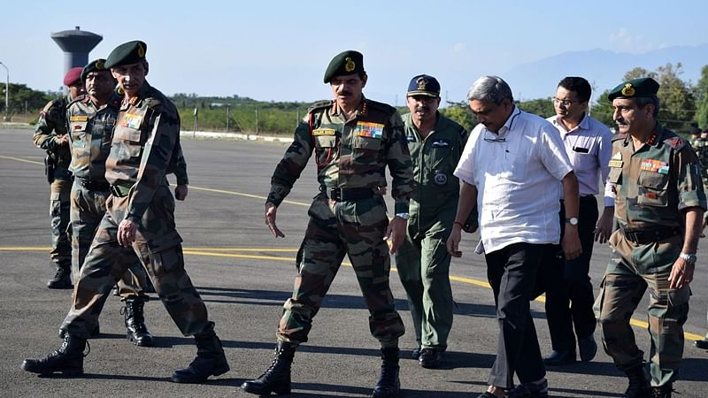 On the day of a terror attack in Uri when four terrorists were killed and 17 soldiers martyred, Raksha Mantri Manohar Parrikar and Army Chief Gen Dalbir Singh visited Kashmir to take stock of the ongoing operations and review the overall security situation in Kashmir. PHOTO BY TOI