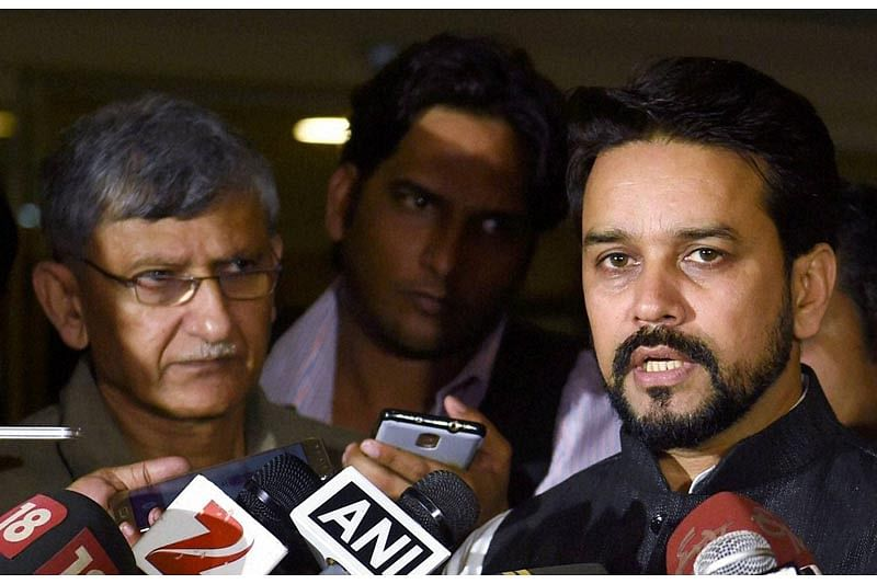MUMBAI:BCCI President Anurag Thakur along with BCCI secretary Ajay Shirke intracts with media at the BCCI headquarters after the SGM in Mumbai on Saturday. PTI Photo by Shashank Parade(PTI10_1_2016_000211B)