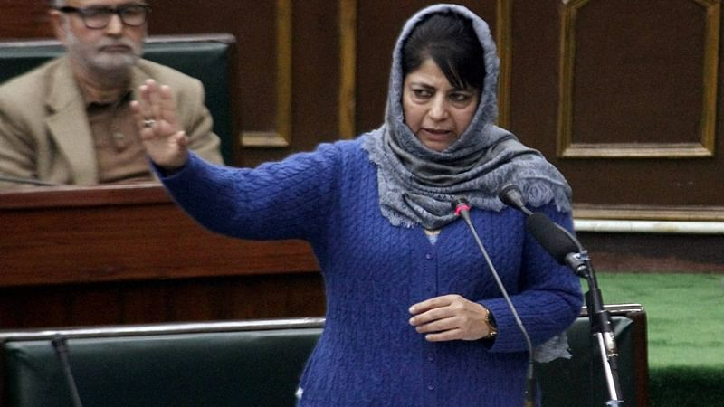 Jammu: Jammu and Kashmir Chief Minister Mehbooba Mufti addressing the Legislative Assembly during the Budget Session, in Jammu on Monday. PTI Photo
