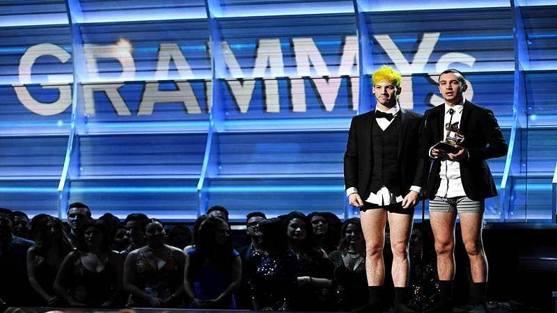 Twenty One Pilots receives Grammy in underwear