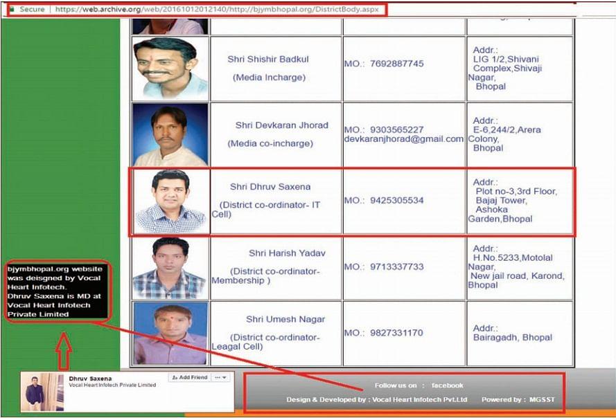 Bhopal: BJYM website declares Dhruv Saxena as IT cell convener