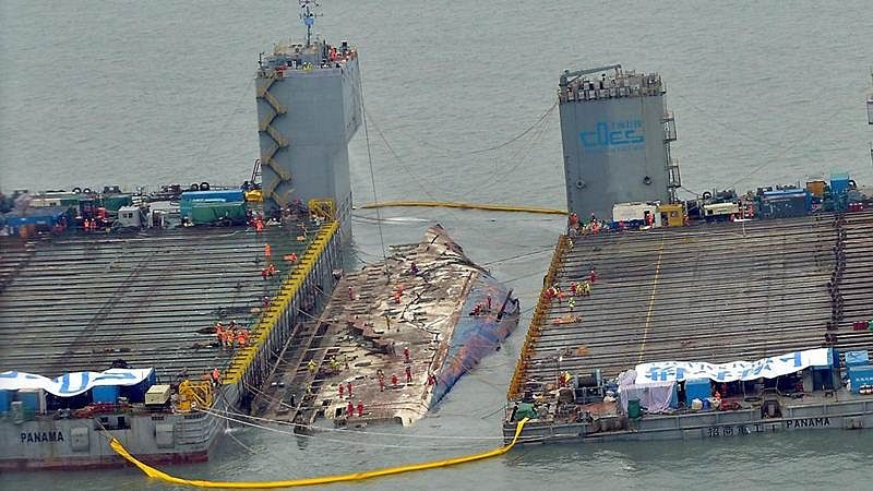 6,800 ton South Korean Ferry that capsized discovered after 3 years