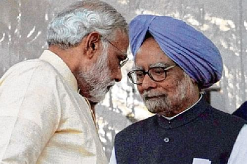 PM Modi walks up to Manmohan in RS, shakes hands