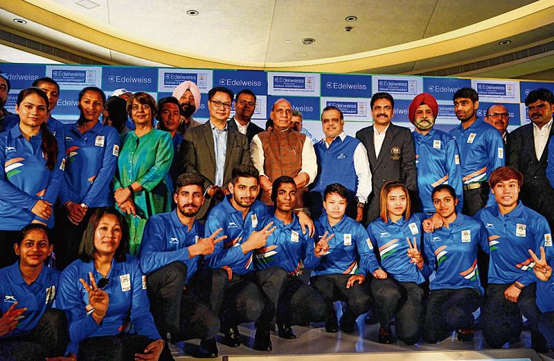 Rajnath, Rijiju wish the best to CWG-bound team