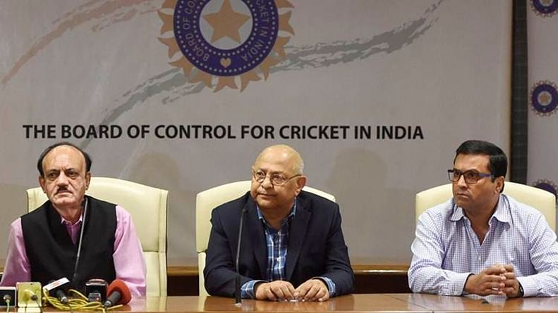 BCCI Committee of Administrators (COA) member Diana Edulji, Indian cricket team head coach Ravi Shastri and acting BCCI President C K Khanna, acting secretary Amitabh Choudhary and CEO Rahul Johri