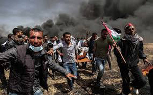 20,000 Palestinians protest along Israel-Gaza border