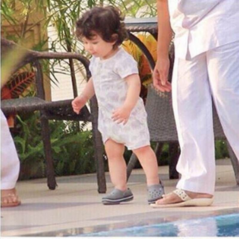In pictures: Taimur takes his first step, nannies make sure that he doesn't fall