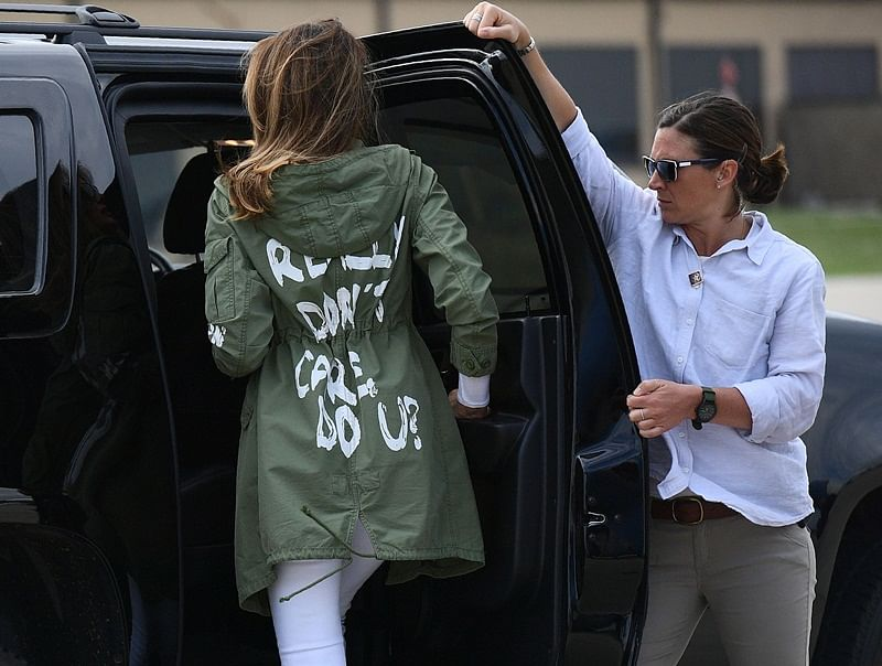 Melania Trump criticised on Twitter for wearing 'I really don't care' coat on migrant visit