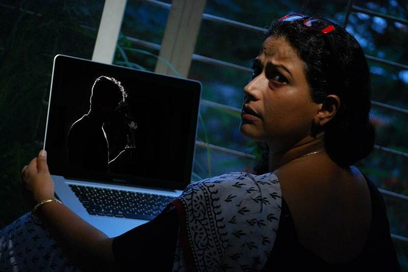 Mona Ambegaonkar in a still from the play Ek Madhav Baug