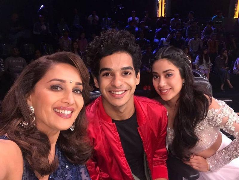 Ishaan, Janhvi pose with 'Dhak Dhak' girl Madhuri