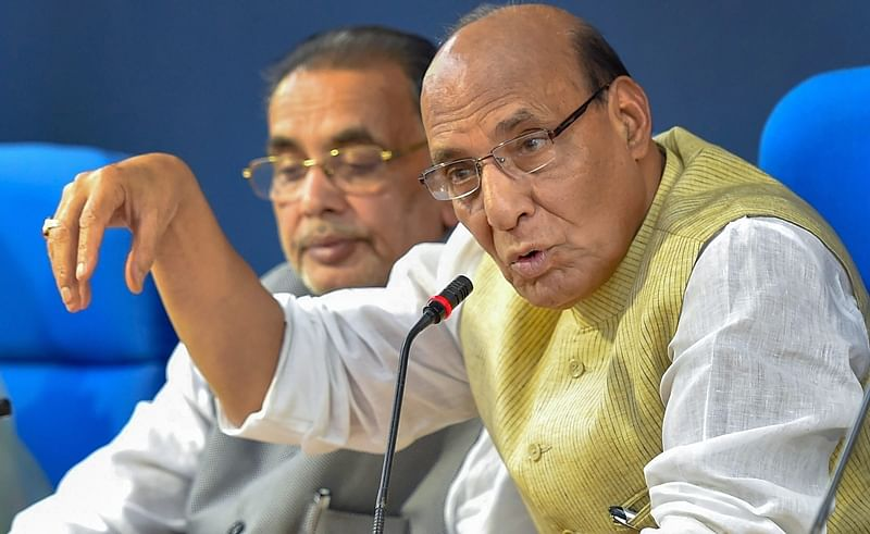 Home Minister Rajnath Singh during a cabinet briefing. PTI Photo/ Subhav Shukla