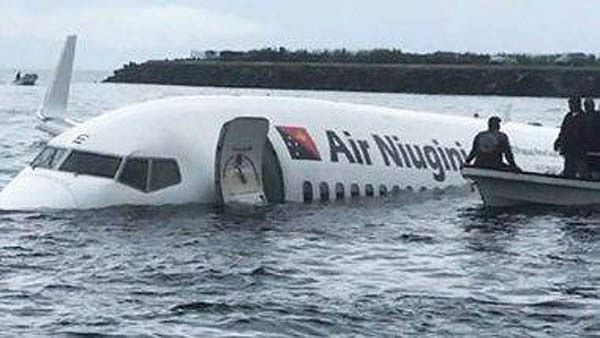 Plane ditches into Pacific lagoon