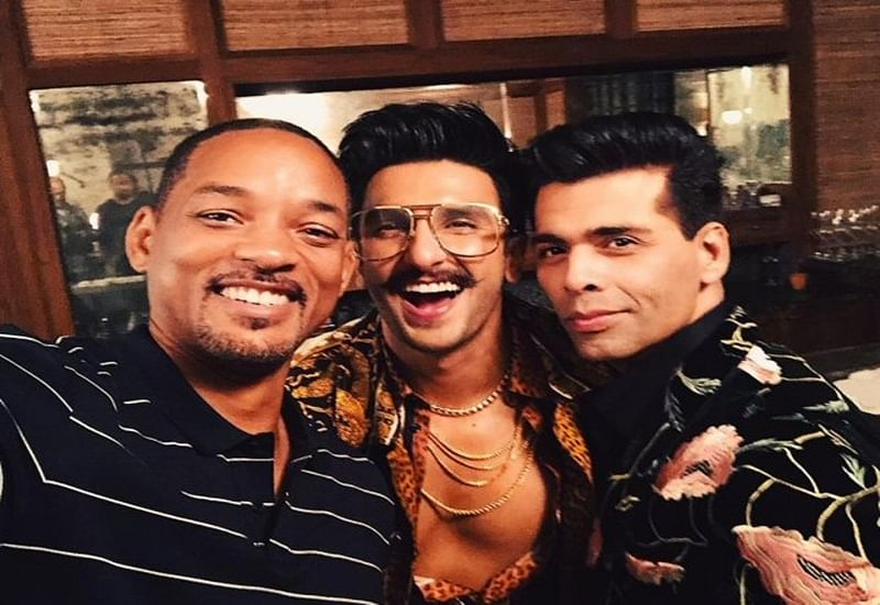 Will Smith learns Shah Rukh Khan's signature pose from Ranveer Singh and Karan Johar; see pics