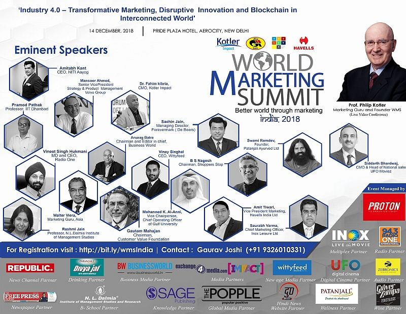 Swami Ramdev, Amitabh Kant and other high-powered speakers at the World Marketing Summit 2018