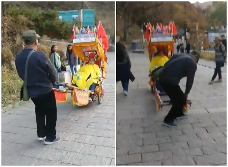 Made in India, Played in China! Rickshaw puller at Great Wall of China plays 'Bholi Si Surat' from 'Dil Toh Pagal Hai' for tourists