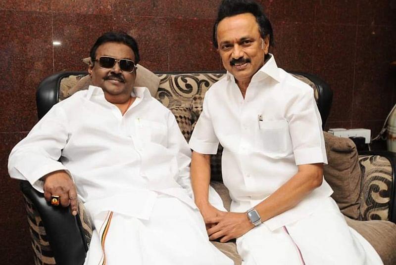 M K Stalin and Rajinikanth visit Vijayakanth who returned from the US after medical treatment
