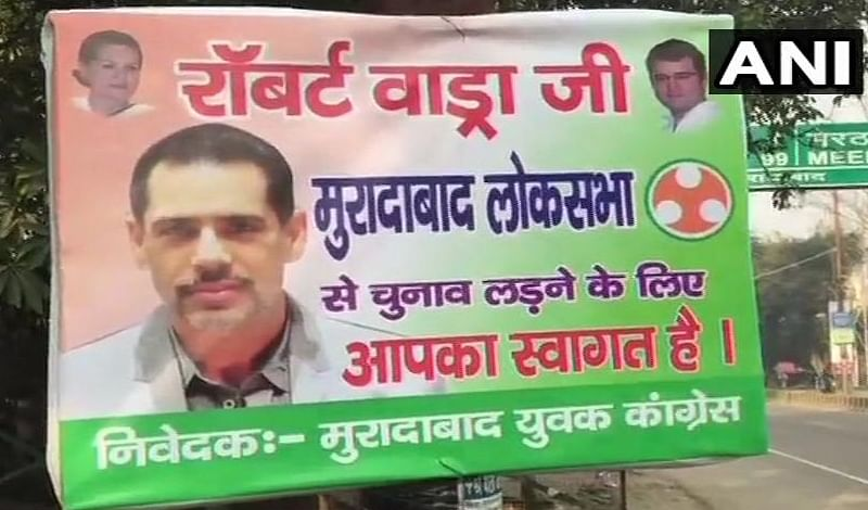 Day after Robert Vadra hinted on joining politics, poster come up in Moradabad inviting him to contest Lok Sabha elections