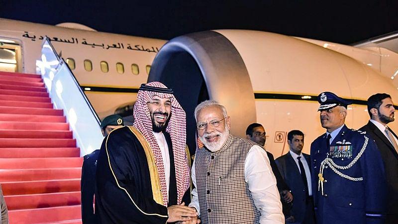 Prime Minister Narendra Modi and Crown Prince of Saudi Arabia Mohammed bin Salman.