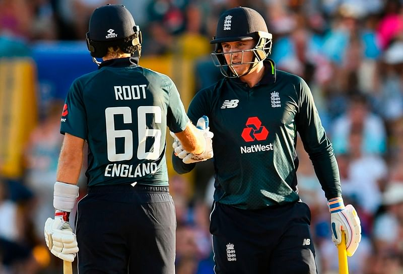 Joe Root (L) and Jason Roy (R) during the 1st ODI between West Indies and England at Kensington Oval, Bridgetown, Barbados. Photo by Randy Brooks / AFP