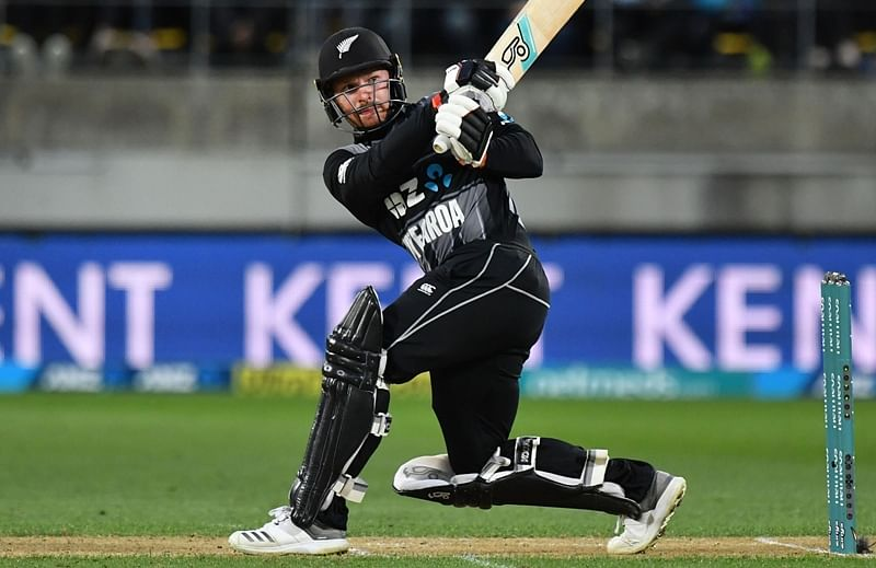 Tim Seifert plays a shot during the first T20 match in Wellington. Photo by Marty MELVILLE / AFP
