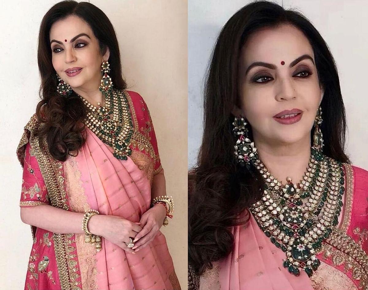 Nita Ambani looks elegant in Sabyasachi for Akash Ambani-Shloka Mehta's wedding celebration