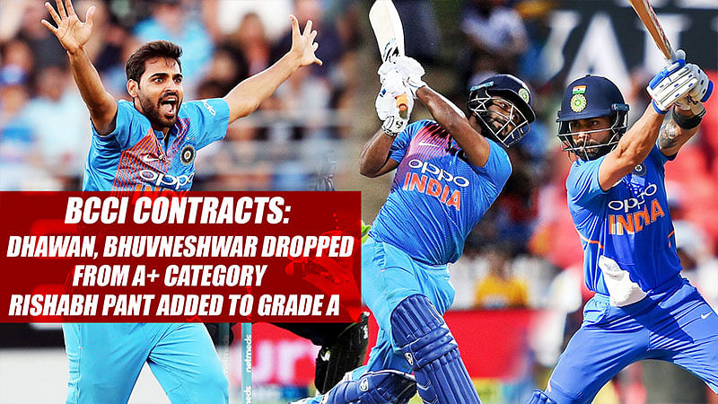 BCCI Contracts: Dhawan, Bhuvneshwar Dropped from A+ Category  Rishabh Pant Added To Grade A