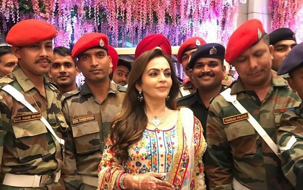 Nita, Mukesh Ambani celebrate son's wedding with armed forces and their families
