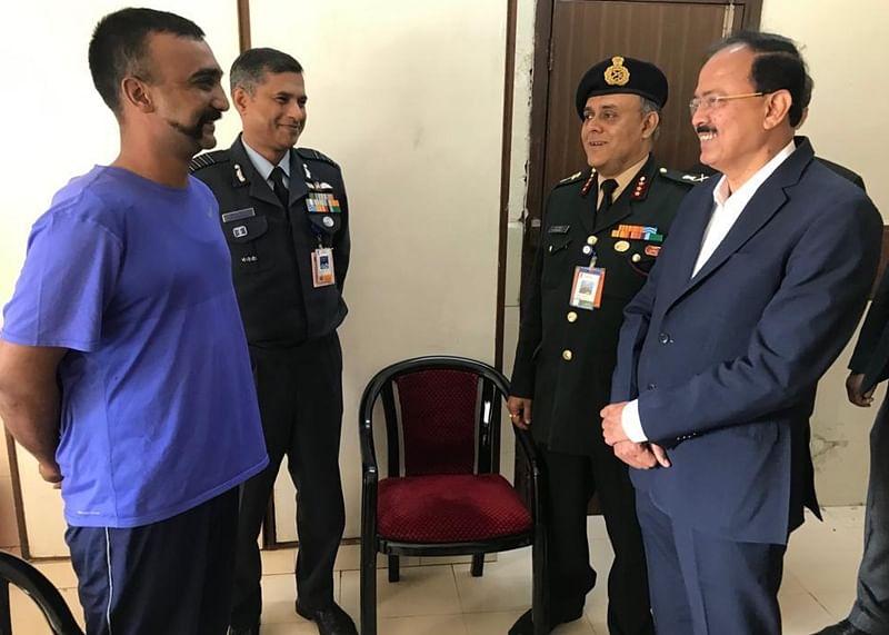 MoS Defence Subhash Bhamre meet IAF pilotAbhinandan Varthaman in Delhi