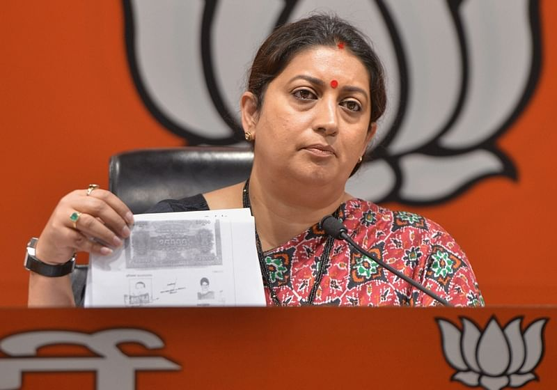 Smriti Irani warns people to 'save their land' when Robert Vadra comes for campaigning