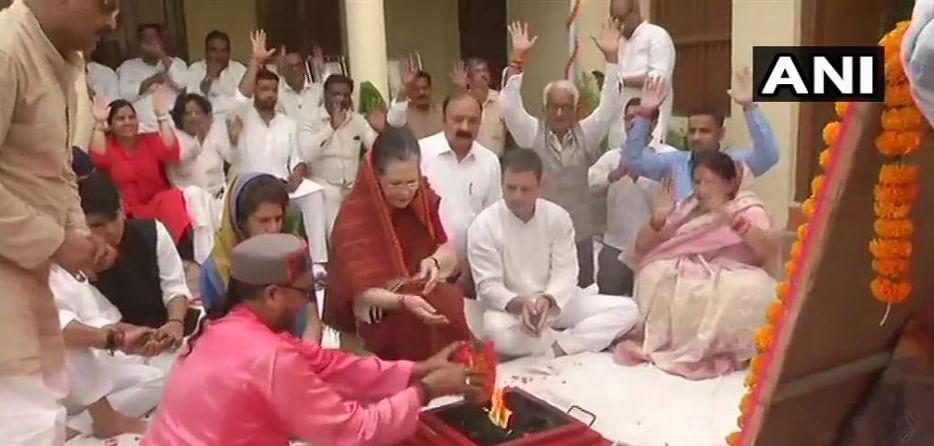 Sonia Gandhi conducts 'hawan' before filing nomination Rae Bareli