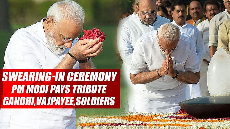 Swearing-In Ceremony, PM Modi Pays Tribute Ro Mahatma Gandhi, Atal Bihari Vajpayee, Soldiers