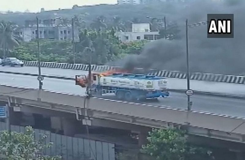Mumbai: Oil tanker catches fire in Goregaon, firefighting operations underway