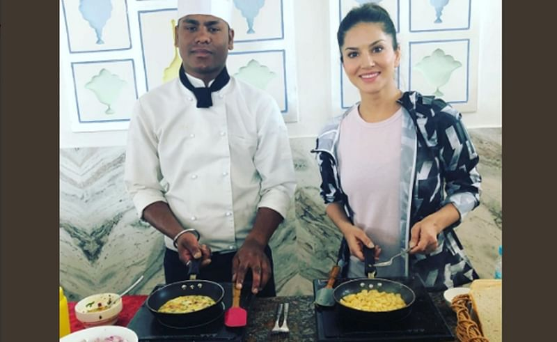 Mom life: Sunny Leone cooks breakfast for her twins in hotel